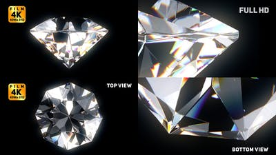 Diamond Film 4K 3 Views Seamless Loop with Alpha
