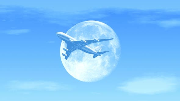 Cover Image for Passenger Airplane Flying over Moon in the Afternoon
