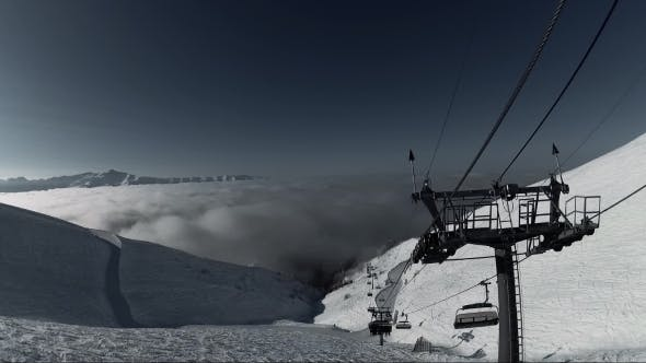 Thumbnail for Funicular Railway in Ski Resort, View From a Cabine