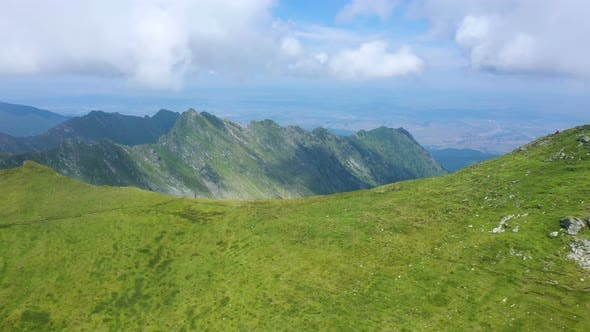 Mother With Daughters Hiking By The Fagaras Ridge 2