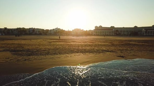 Thumbnail for Views from Drone During Sunset on Beach Malvarrosa in Valencia