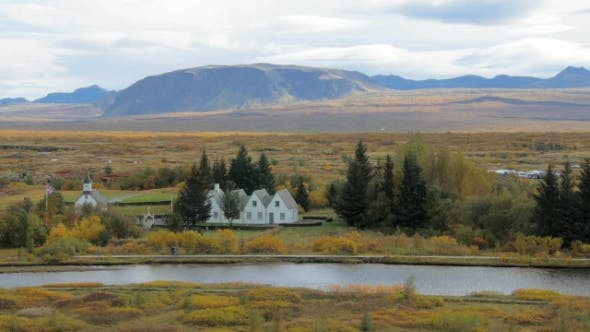 Thumbnail for Oxara River in Icelandic National Park Thingvellir in Fall Day