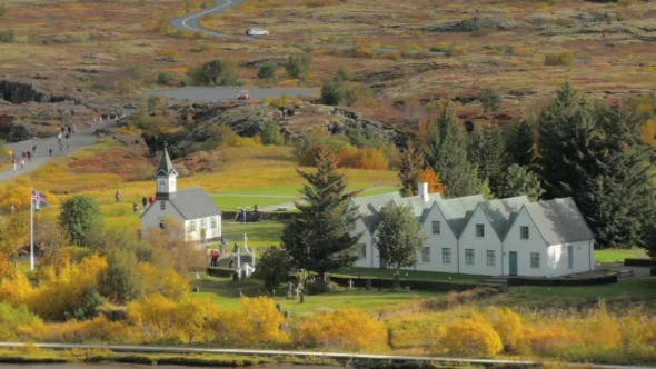 Thumbnail for Famous Small Buildings in a National Park Thingvellir in Iceland in Sunny Autumn Day