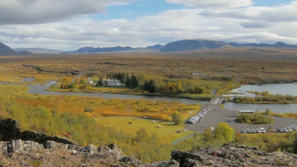 Thumbnail for Panorama of National Park Thingvellir in Iceland in Sunny Autumn Day, View From Top