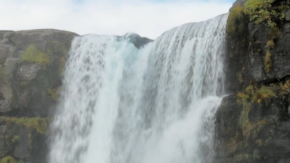 Thumbnail for Powerful Stream of River Is Falling From Basalt Rocks,  of Top of Waterfall