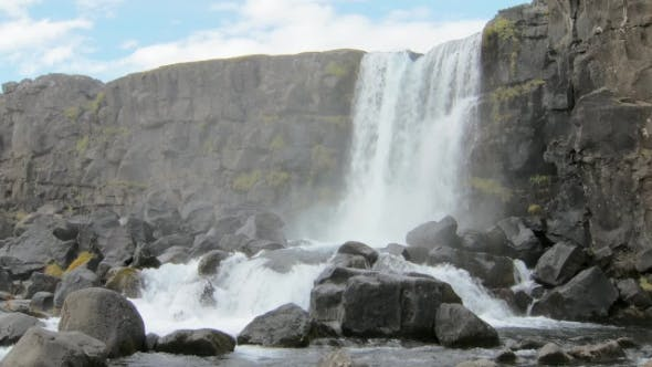 Thumbnail for Oxararfoss Waterfall in a National Park Thingvellir in Iceland in Cloudy Day