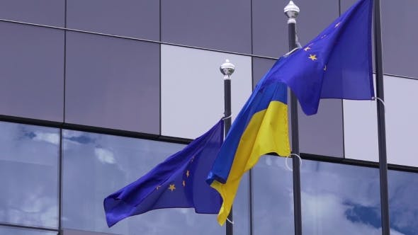 Ukrainian and Europe Union Flags