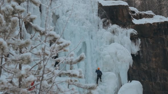 Thumbnail for Competition Climbers on the Frozen Waterfall.