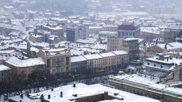 Thumbnail for Snow Storm in Old Europe City
