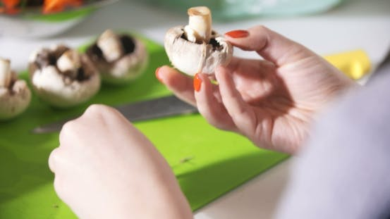 Thumbnail for Cleaning Wild Mushroom with Kitchen Knife
