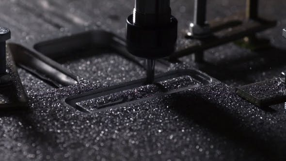 Thumbnail for Milling Machine for Cutting Steel Handles a Piece of Aluminum The Drill Cuts the Inscription on the