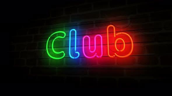 Vereinssymbol Neon auf Backsteinmauer 3d
