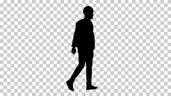 Thumbnail for Silhouette engineer walking in a hardhat, Alpha Channel