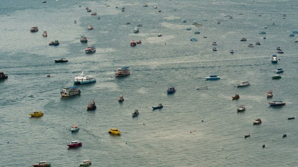 Thumbnail for Top View of Floating Many Ships and Boats in the Sea.Thailand. Pattaya
