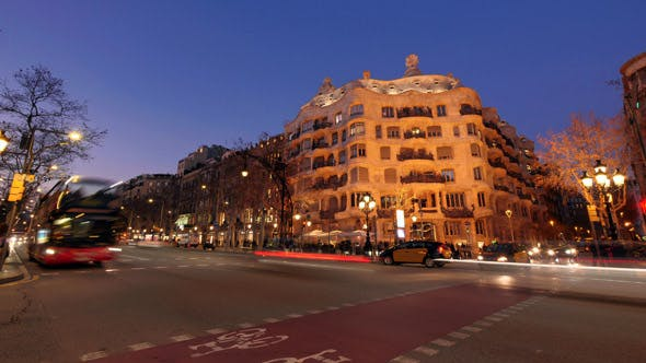 Thumbnail for Casa Mila La Pedrera of Antoni Gaudi in Barcelona from Day to Night