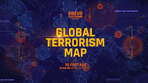 Globale Terrorismuskarte 4K/Politik und Wirtschaft Präsentationen/World Terror Infografik/Bomb & Weapon