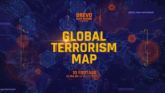 Thumbnail for Global Terrorism Map 4K/Politics and Economic Presentations/ World Terror Infographic/ Bomb & Weapon