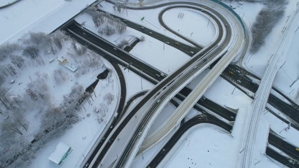 Cover Image for Freeway Intersection Snow-covered in Winter.