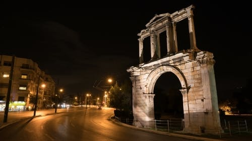 Night Athens. On Right We See the Arch of Hadrian That Leads To the Pillars of Zeus's Archaeological