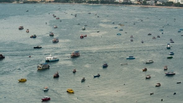 Thumbnail for Floating Many Ships and Boats in the Sea. . Thailand. Pattaya