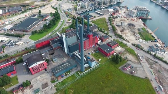 Thumbnail for City Aerial View Over Copenhagen Power Station