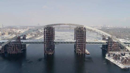 Thumbnail for Rusty Unfinished Bridge in Kiev, Ukraine. Combined Car and Subway Bridge Under Construction