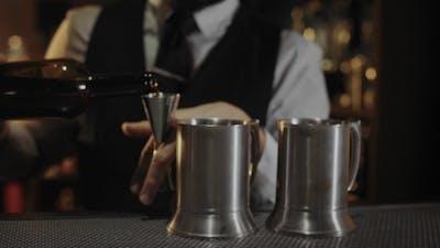 Bartender at Work in Bar