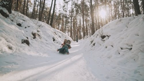 Young Mother and Little Daughter Having Fun on Sledge in Winter Park in Slomo