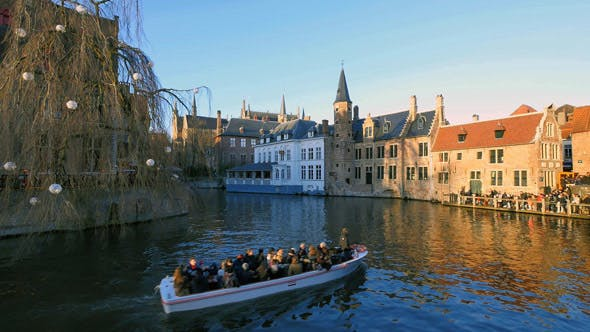 Thumbnail for Traditional Canals in Bruges at Sunset
