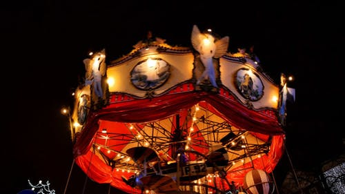 Typical Carousel Spinning at Night