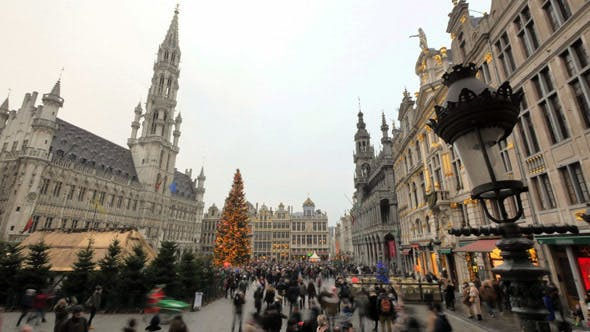 Thumbnail for Crowded Brussels Grand Place in Christmas Time Lapse