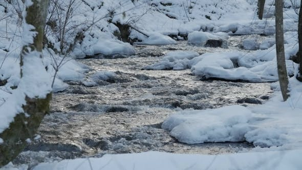 Thumbnail for A Beautiful Crystal Clear Stream in Winter with Snow Flows Through Woods