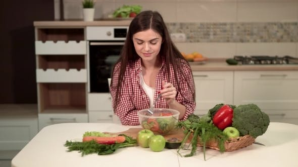Thumbnail for Girl Enjoys Healthy Mixed Salad