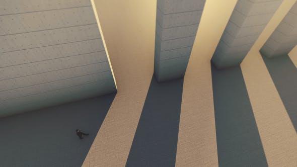 Thumbnail for Man Walking Through A Long And Huge Corridor