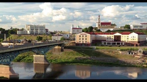 Grodno, Belarus Bridge Across Neman River, Grodno Regional Drama Theatre, St Francis Xavier