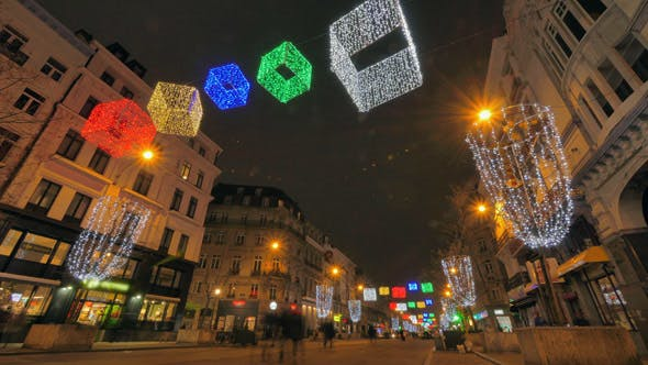 Thumbnail for Colorful Christmas Illumination on the Streets of Brussels