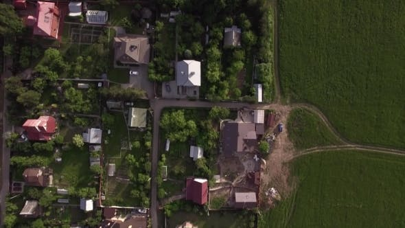 Thumbnail for Aerial View of Houses with Green Yards in Countryside, Russia