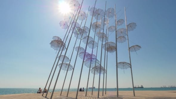Thumbnail for City Seafront with Umbrellas Sculpture. Thessaloniki, Greece