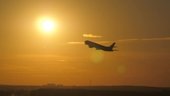 Thumbnail for Airplane Takeoff at Sunset