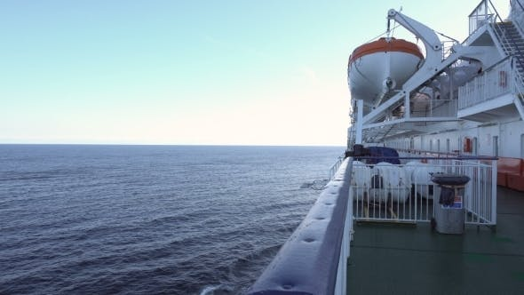 Lifeboats on Upper Deck of Liner