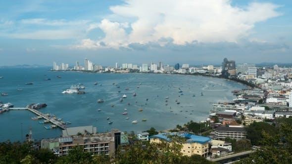 Thumbnail for Panoramic View of Pattaya City Beach at Pratumnak Viewpoint. . Thailand, Pattaya, Asia