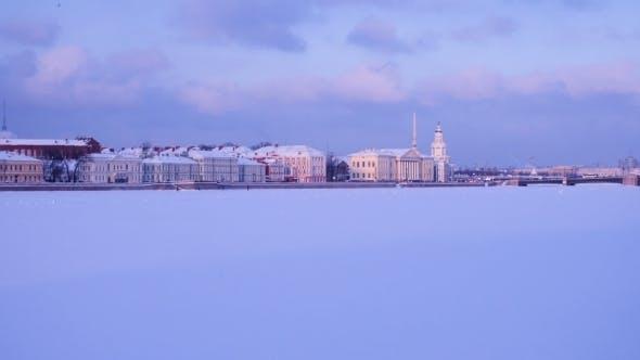 Thumbnail for Winter Neva River Embankment at Saint Petersburg Russia