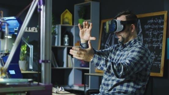 Laboratory Worker in VR Glasses
