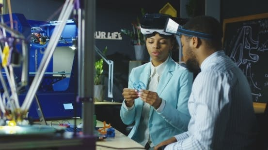 Thumbnail for Colleagues in VR Glasses Having Meeting