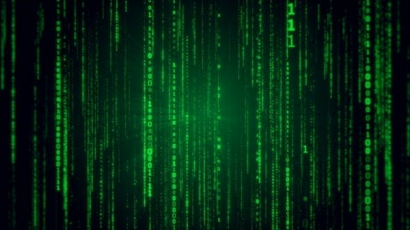 Thumbnail for Falling Binary Code in the Matrix Style in the Technological Space