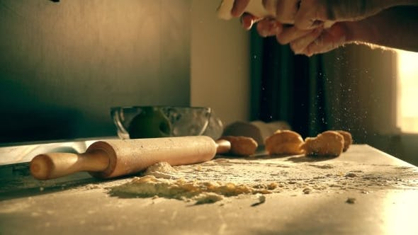Thumbnail for Male Cook Throwing Homemade Pasta Dough on the Table