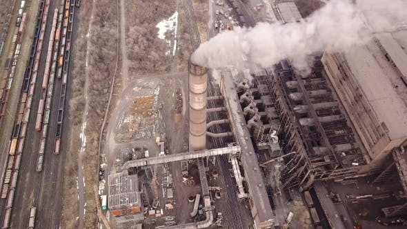 Thumbnail for Emission To Atmosphere From Industrial Pipes Smokestack Pipes Shooted with Drone.