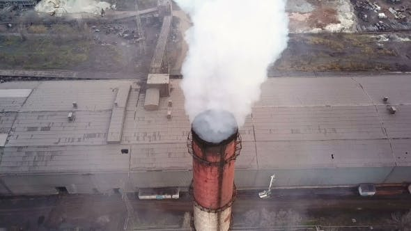 Thumbnail for Aerial View. Emission To Atmosphere From Industrial Pipes. Smokestack Pipes Shooted with Drone. .