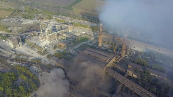 Thumbnail for Aerial View of Industrial Oil Refinery Plant Station. Gas Industry Background