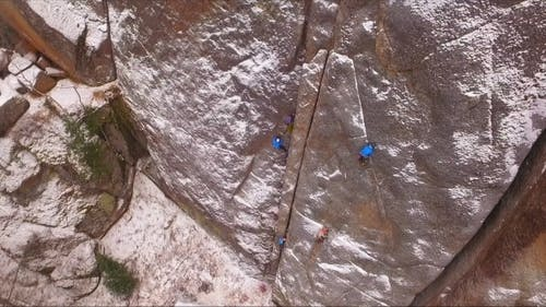 Climbers on the Wall Training Climbers on a High Rock in a Siberian Nature Reserve Stolby